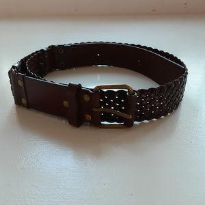 LOFT | Woman's braided brown leather belt (L)
